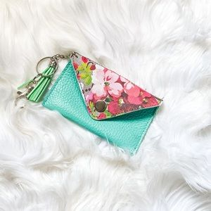 Turquoise Leather Floral Snap Closure Card Case
